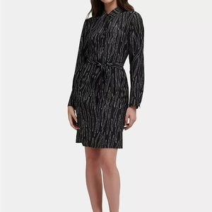 DKNY Womens Printed Long-Sleeve Shirtdress